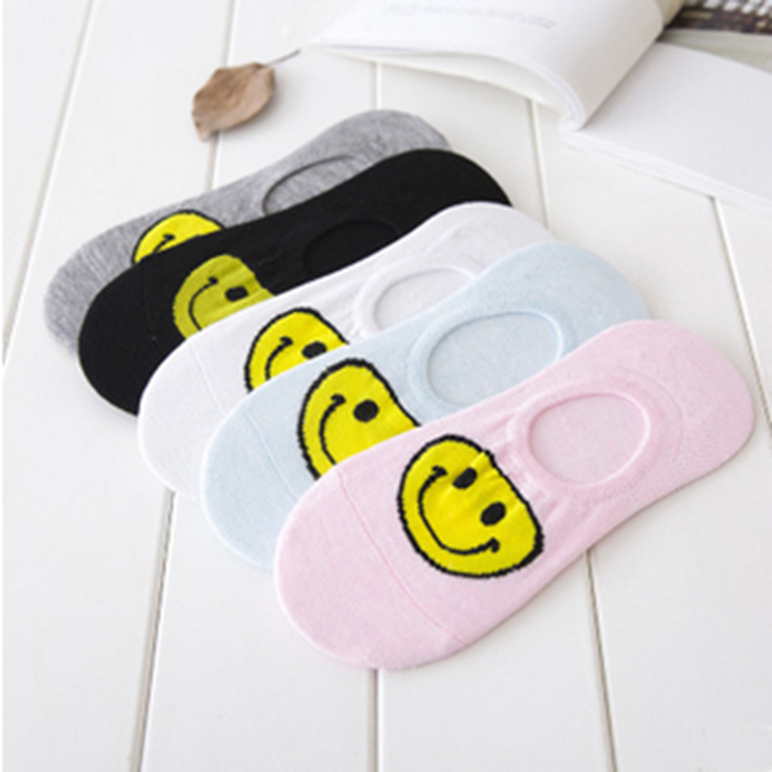 Hot Sale Spring Cotton Solid Candy Color Womens Socks Casual Character Cute Smile Emoji Shallow Socks With Gluey Inner