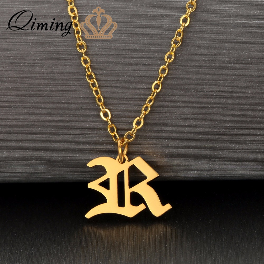 QIMING Personalized Custom Initial Necklace For Women Engagement Jewelry Engraver Metal Nameplate Chain Statement Necklace Gift