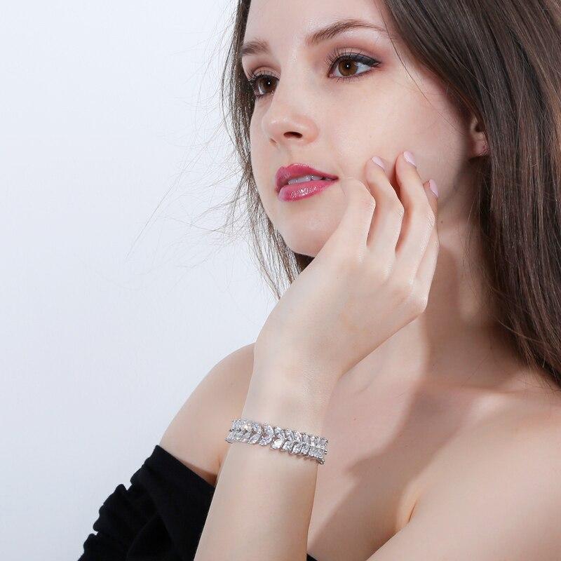 ANGELCZ 18 New Design Women Dress Jewelry Leaf Cubic Zirconia 925 Sterling Silver Strand Bracelet With Red Black Stone AB007 4