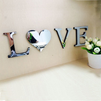LOVE HOME 4pcs set Mirror Acrylic Wall Sticker English Letters DIY Quote Affixed Decal Home Decor