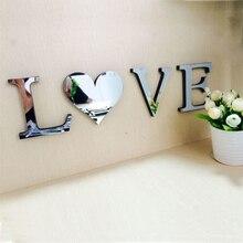 LOVE HOME 4pcs set Mirror Acrylic font b Wall b font font b Sticker b font
