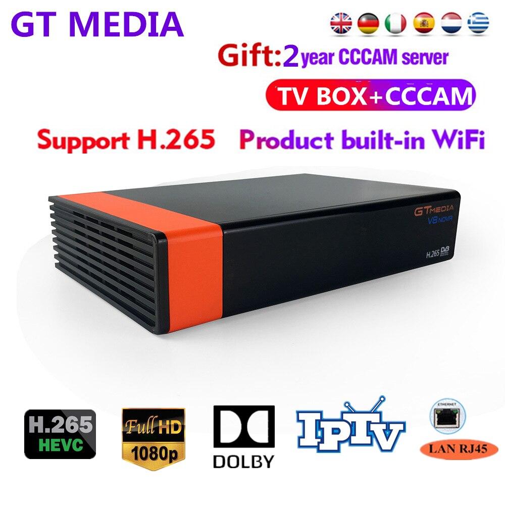 Livre 2 anos europa 7 linhas de servidor gt mídia dvb s2 v8 nova hd 1080p h.265 receptor satélite suporte youtube cccam v8 receptor