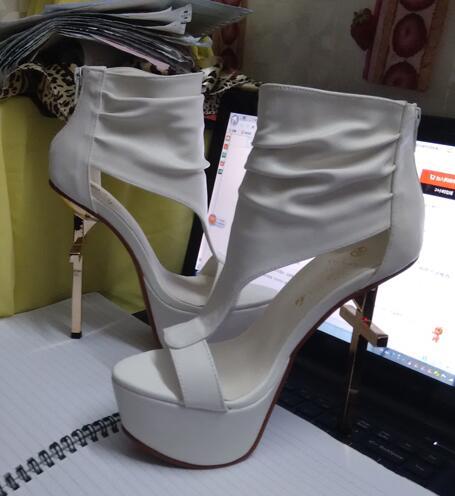 punk-tyylinen kulta Cross heel korkealuokkainen sandaali todellinen - Naisten kengät
