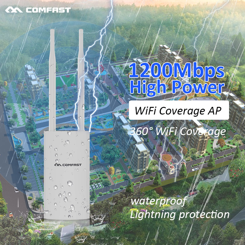 Outdoor Wifi Repeater 2.4G + 5GHz Wireless WiFi Amplifier AP 27dBm 1200Mbps Wifi Router High Power Wifi Omnidirectional Antenna outdoor wifi repeater 2 4gwireless wifi amplifier with ap wisp 27dbm wifi router high power wifi extender base station ap