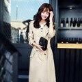 Primavera Otoño Mujeres Trench Coat 2016 Nueva Moda Outwear de Largo Más El Tamaño de La Cintura Delgada Capa de Foso Con La Correa Z2