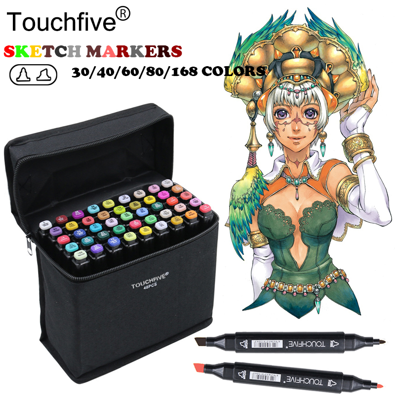 TOUCHFIVE 80 Colors Drawing Marker Graphic Animation Manga Sketch Touchfive Markers Alcohol Based Artist Set Marker supplying touchfive 30 40 60 80 colors drawing marker pen animation sketch art markers set for artist manga graphic based markers brush