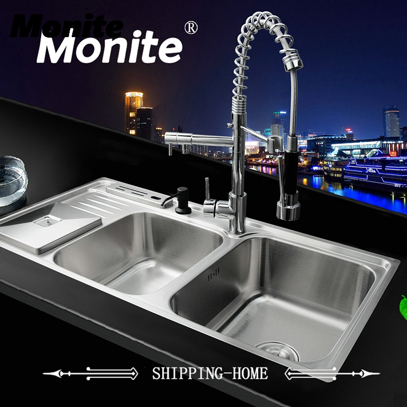 Stainless Steel Countertops With Sink: Pull Out Down Kitchen Faucet+Bathroom Sink Faucet Torneira