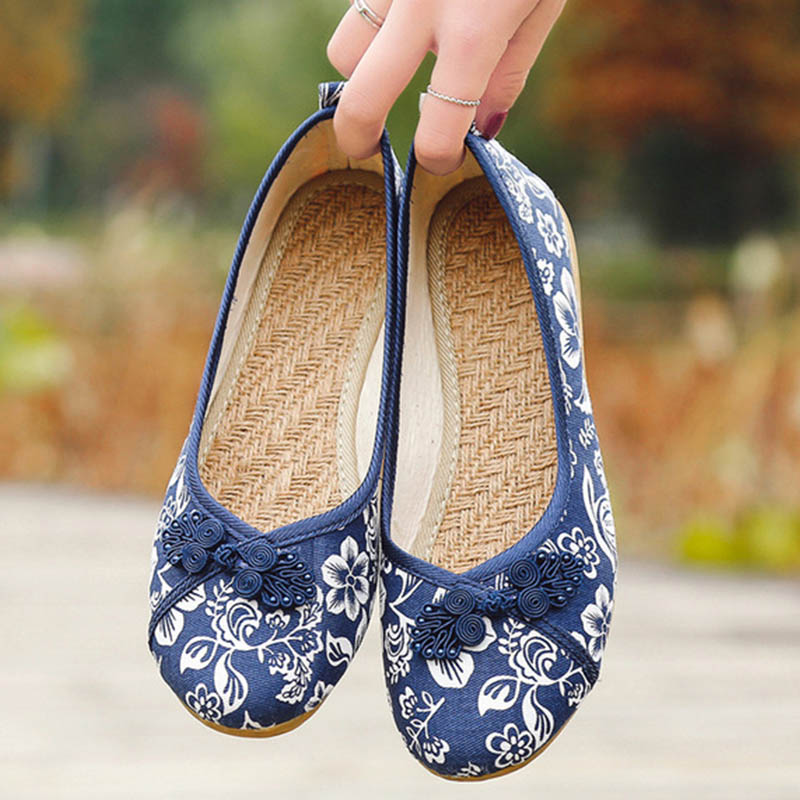 huge discount 56629 9c103 Detail Feedback Questions about Women Vintage Flats Autumn Female Canvas  Ethnic Chinese Knot Slip On Loafers Casual Comfort Shoes Ladies Embroidered  on ...