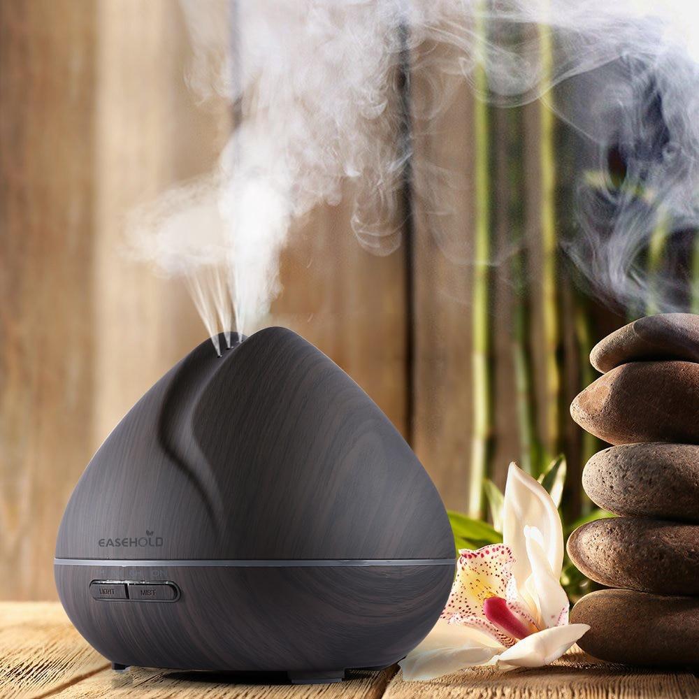 EASEHOLD 400 ml Duft Ätherisches Öl Diffusor Ultraschall Luftbefeuchter mit Holzmaserung 7 Farbwechsel Led-leuchten für Büro hause