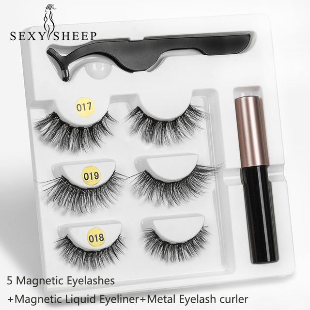 Magnetic Eyelashes 3 pairs Eyeliner Eyelash Curler Set5 Magnet Natural Long Magnetic False Eyelashes With Magnetic Eyeliner