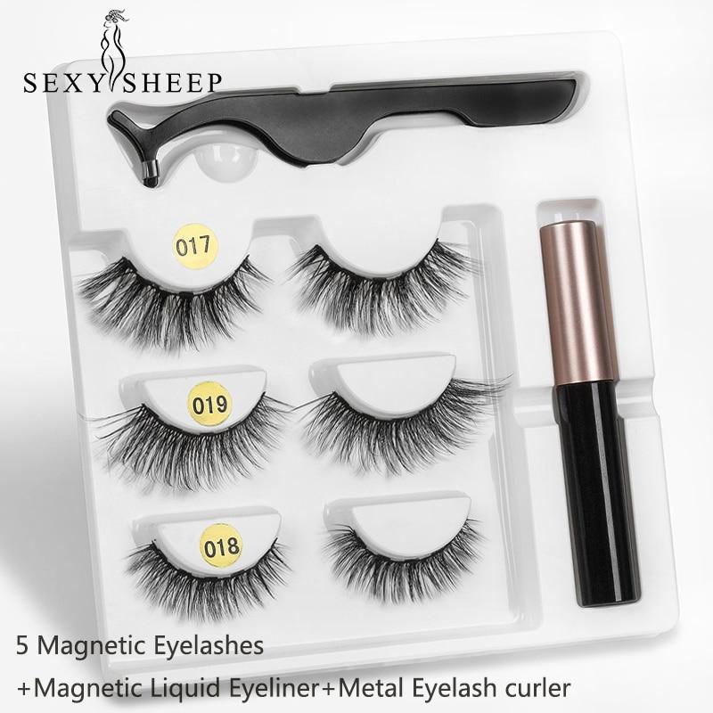 Magnetic Eyelashes Eyeliner Eyelash Curler Set5 Magnet Natural Long Magnetic False Eyelashes With Magnetic Eyeliner SEXYSHEEP(China)