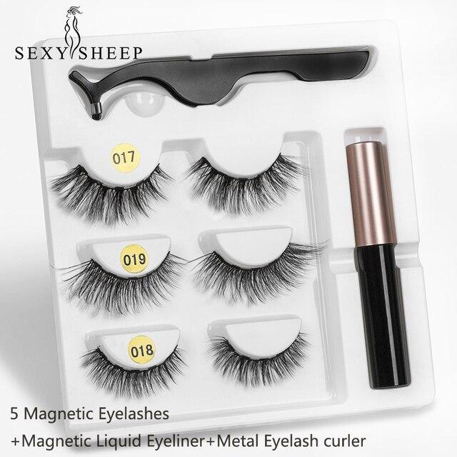 SEXYSHEEP Magnetic Eyelashes Eyeliner Eyelash Curler Set5 Magnet Natural Long Magnetic False Eyelashes With Magnetic Eyeliner 2