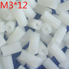 M3 * 12 12 millimetri 1 pcs bianco di Nylon Esagonale Femmina a Femmina Standoff Spacer Filettato Esagonale Spacer Standoff Spacer brand new(China)