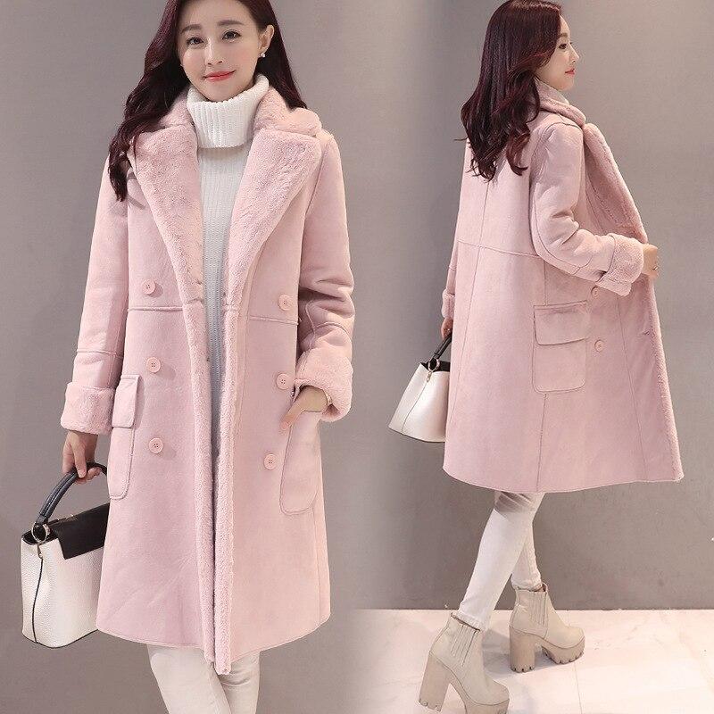 2018 Sobretudo Full Solid Sale New Winter Coat Bayan Kaban Jacket Women Long Double Breasted Deerskin