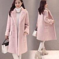 Winter Woolen Jacket Women Long Thick Double Breasted Deerskin Lamb Wool Coat Women Windbreaker