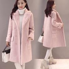 2018 Sobretudo Full Solid Sale New Winter Coat Bayan Kaban Jacket Women Long Double Breasted Deerskin Lamb Wool Windbreaker