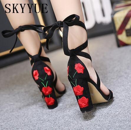 ... HIgh Lace Heel Women Women Up Black Shoes Sandals Pumps 11cm Chunky  Open New Toe Rome ... e2b18aefd5ec