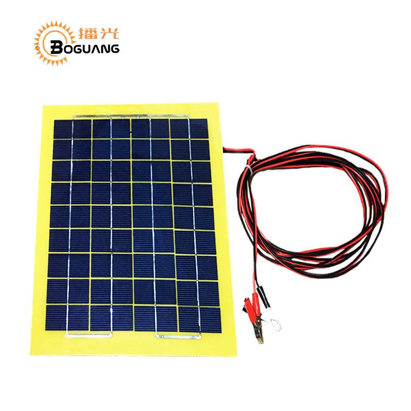 Boguang 18v/8w PCB Polysilicon solar panel cell module back of the junction box 4m Alligator clip cable DIY kit LED light