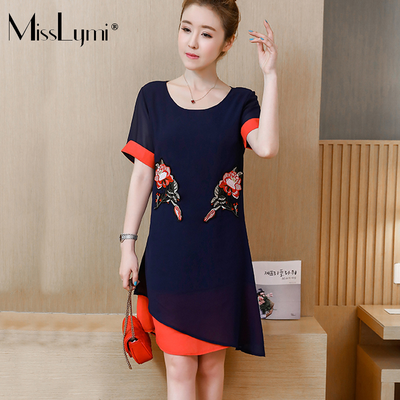 MissLymi L-5XL Plus Size Women Chiffon Dress 2018 Summer Casual Loose Short Sleeve Hit Color Fake two Pieces Embroidery Dresses