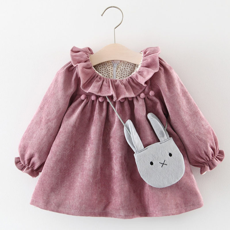 Girls Clothes 2018 Autumn Section Children Clothing Solid Color Fungus Collar Chest Ball Princess Dress Baby Girls Dress + Bag collar color block striped dress