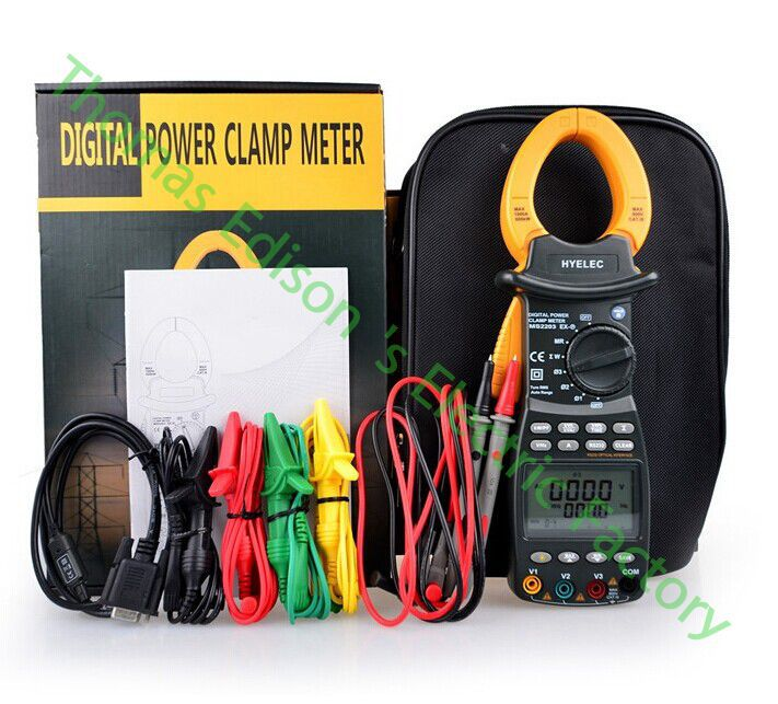 High quality MS2203 3 phase TRMS Digital clamp Meter power factor correction multimeter for V/A/W/VA/kVA/KVAR/Hz/kW/PF