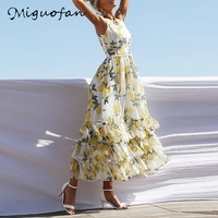 Miguofan Floral Print Long Dress Women Ruffles Lace Up Sleeveless Layered Dresses Plus Size Boho Beach Style Summer Dress 2019
