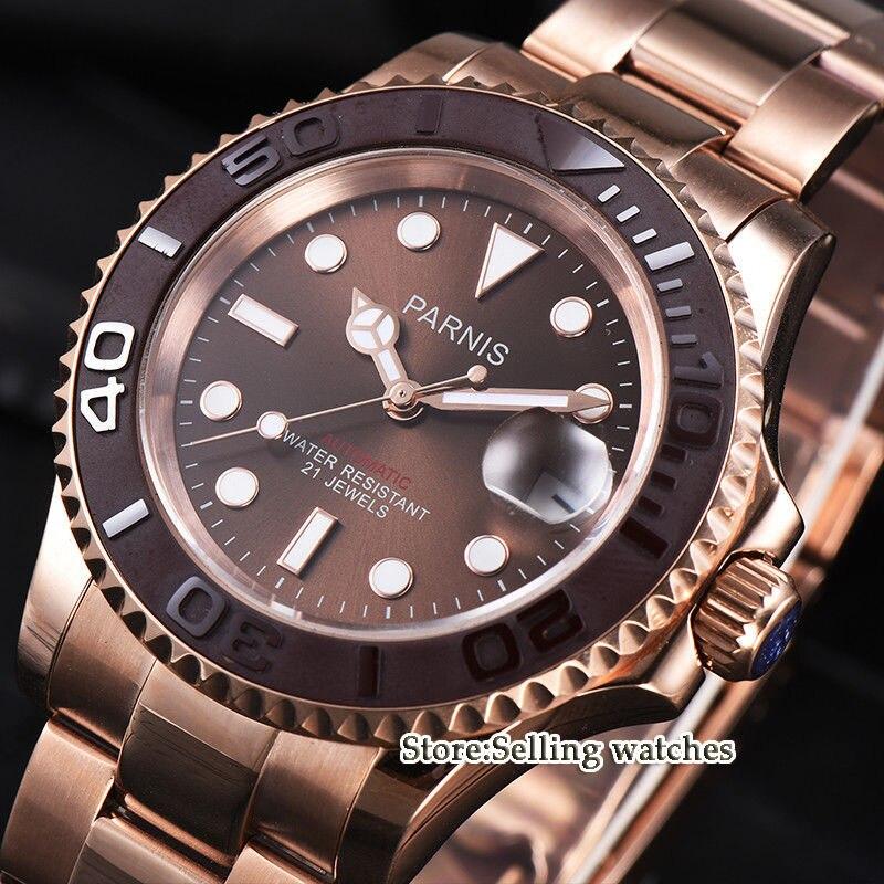 лучшая цена Parnis 41mm Date Business Luxury brown Dial Rose Gold Case Miyota 8215 Automatic Men Watch