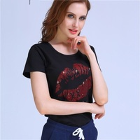 2017 Lips Diamonds T Shirt Women Sexy Club Style O Neck Short Sleeve Tees Sequins Red