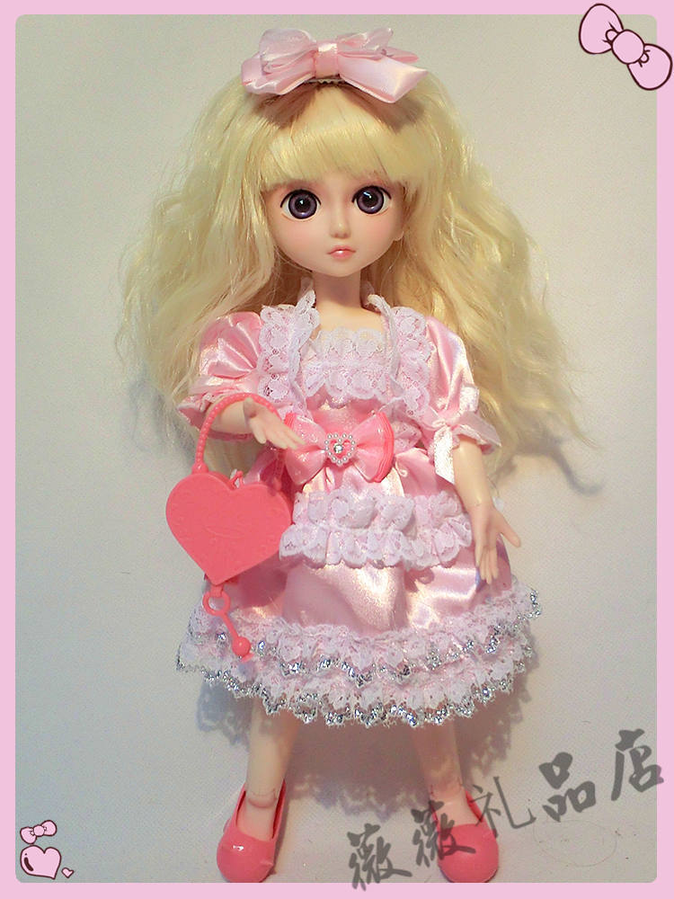 ФОТО 1/6 cute Blond Big eyes doll 30cm bjd night Lolita doll