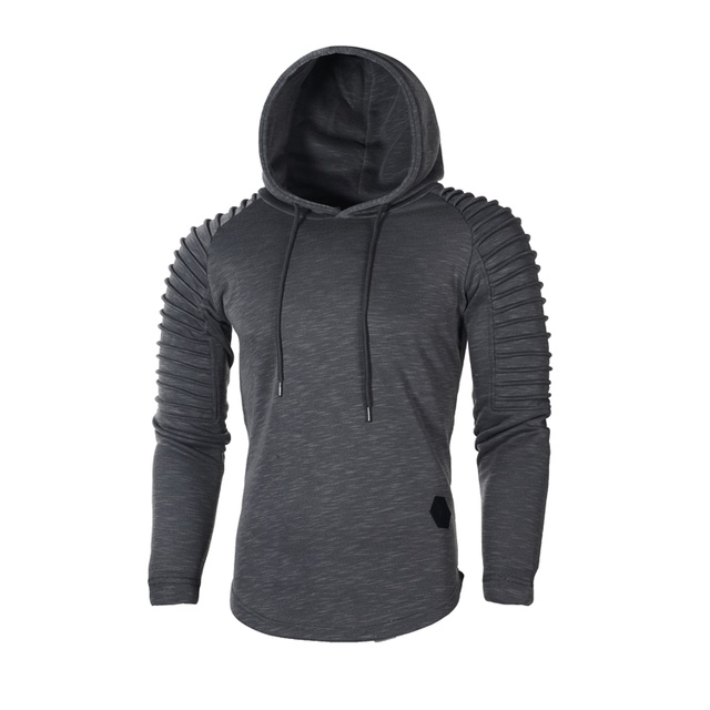 Fashion Mens Hoodies Solid Color Hooded Slim Sweatshirt Hip Hop Hoodies Sportswear Tracksuit 2