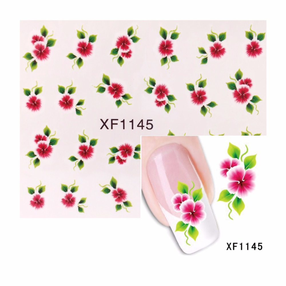 ⑥ZKO 1 Sheet Water Decals Chic Flower Nail Stickers French Tips ...