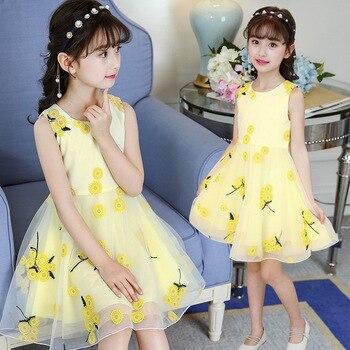 1fda425a2b999 2018 Летний стиль Платье для девочек с цветочным узором для малышей подростковая  одежда для принцесс модная детская одежда праздничная одежд.