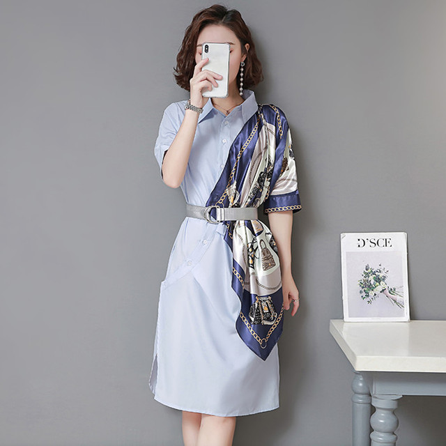 Summer Dress Women Turn Down Collar Chains Print Scarf Patchwork Casual Sashes Loose Shirt Dress