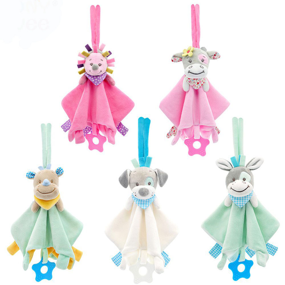 JMao Baby Toys Crib Mobile Rattles Soft Teether Puppy Cow Pattern Appease Towel Baby Doll Infant Baby Comforting Towel