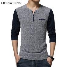 Hot Sale 2019 Autumn Men's T Shirt Fashion Patchwork Long Sleeve T Shirt Mens Clothes Trend Slim Fit Casual Buttons Top Tees 5XL