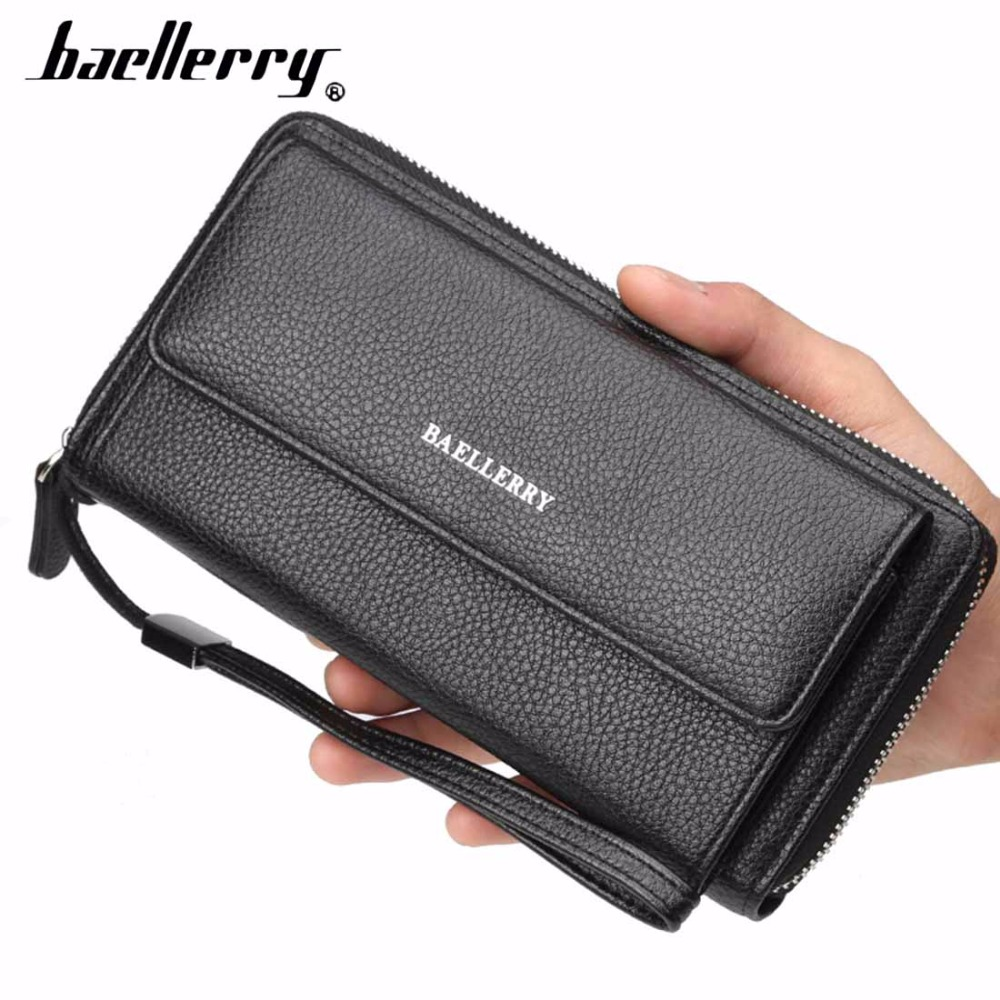 2018 Baellerry PU Leather Men Clutch Wallets Zipper Large Capacity Hand Strap Men Wallet Luxurious Business Solid Male Purses leather
