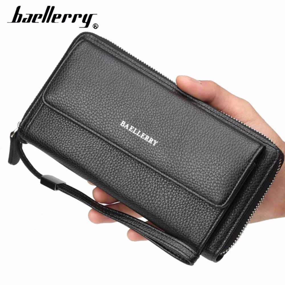 ad6d2209ae1eb 2018 Baellerry PU Leather Men Clutch Wallets Zipper Large Capacity Hand  Strap Men Wallet Luxurious Business