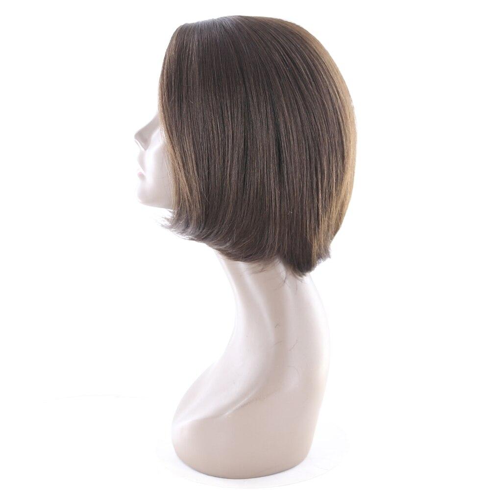X-TRESS 10 Short Bob Human Hair Wigs Brazilian Non-remy Side Parting Straight Bob Wigs For Women Dark Brown 2# Free Shipping