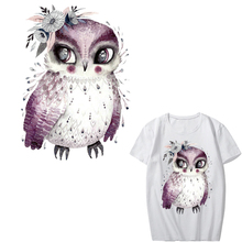 Flower Owl Patch Iron on Transfer Animal Patches for Girl Clothing DIY T-shirt Dresses Appliques Stickers Stripes Clothes