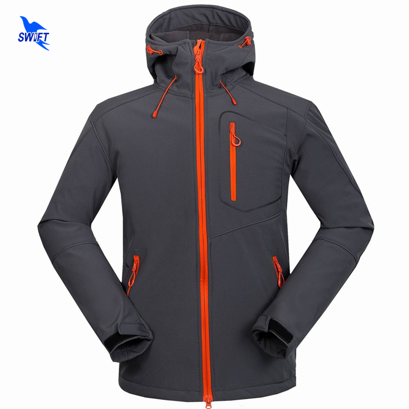 Custom Support Tech Fleece Hooded Softshell Jacket Men Windproof Mountain Climbing Hikin ...