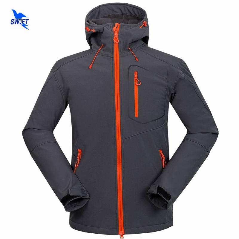 Custom Support Tech Fleece Hooded Softshell Jacket Men Windproof Mountain Climbing Hiking Clothing Waterproof Fishing Ski Coat