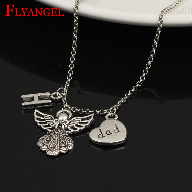 58975e695d Hot A-Z Initial Letter Angel Family Member Jewelry Guardian Dad Pendant  Necklace Mother's Father's Day Daughter Birthday Gifts