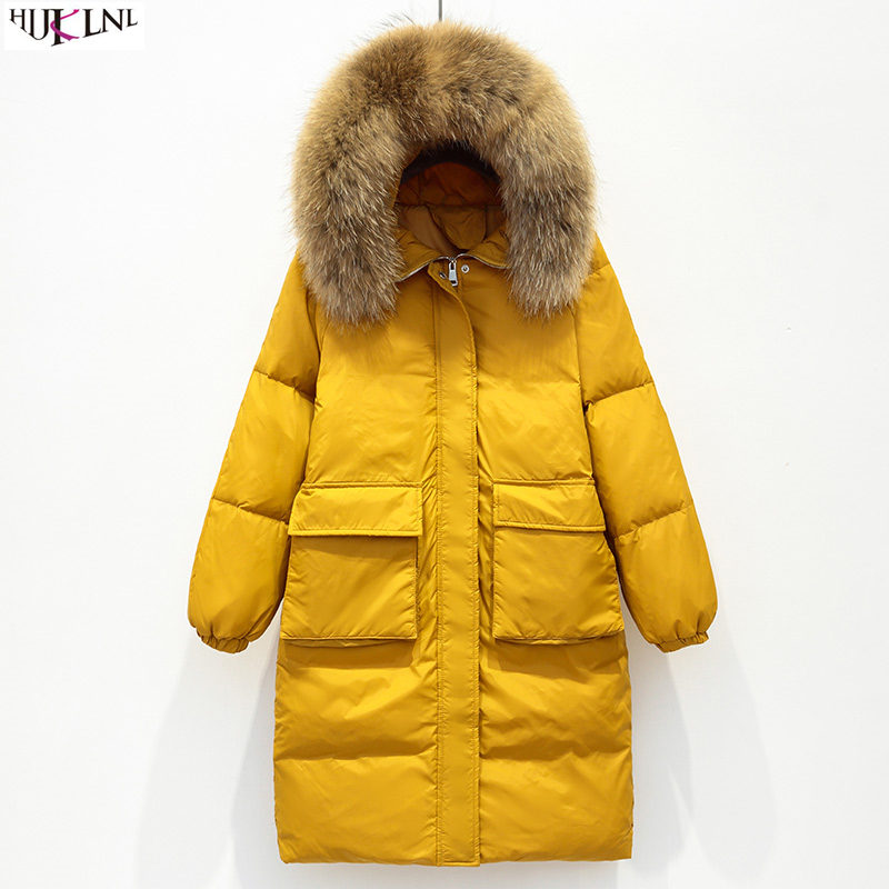 2019 New Women Winter Down Jacket Yellow Fur Hooded Coat Loose Long Jacket Solid Casual Outer Warm Outwear Doudoune Femme AC161
