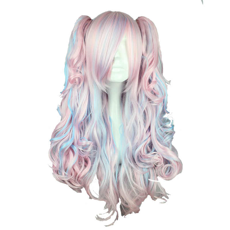 MCOSER 70CM Long Wavy Cosplay Wig Two Ponytail Mix Color Synthetic Hair Heat Resistant 100% High Temperature Fiber WIG-053A