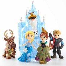 Disney mrożone Anna Elsa księżniczka Olaf Sven i zamek lodowy pałac tron 7-17cm 6 sztuk/zestaw figurka Anime figurka zabawka model