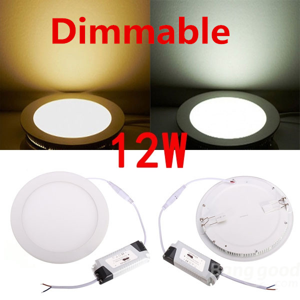 Wholesale 20pcs/Lot 12W Dimmable Round led panel light AC85-265V ceiling Light 880lumens, Free Shipping