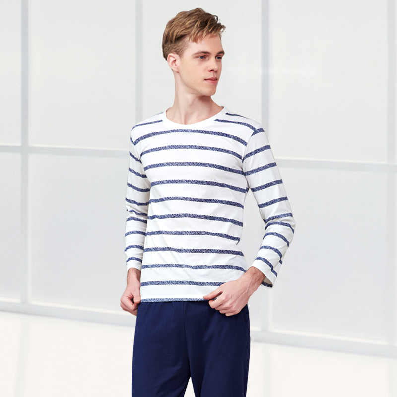 ... Пара пижамы хлопок полосатый пижамный комплект с круглым вырезом Lover Домашняя  одежда плюс Размеры L- ... 9c18dcbc6e1a5