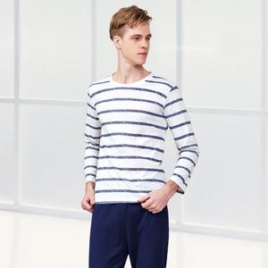 Image 2 - Couple Pajama Cotton Striped  O neck Sleepwear Lover Home Clothes Plus Size L 3XL High Quality Men+Women Underwear 1 Set