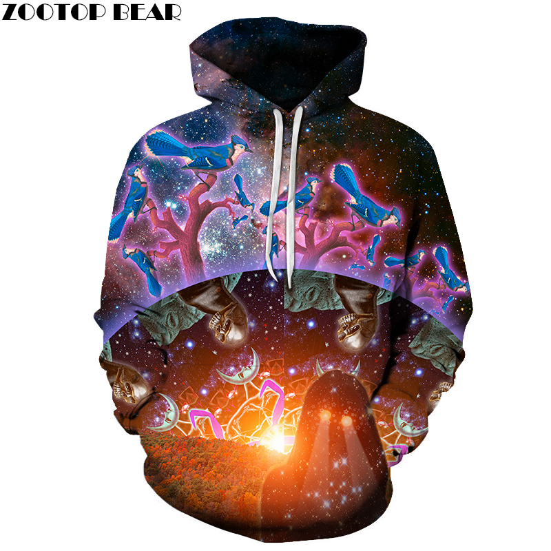 Hot Sale 3D Pritned Sweatshirt Men Women Hoodies Galaxy Skull Bird Pullover Fashion Nove ...
