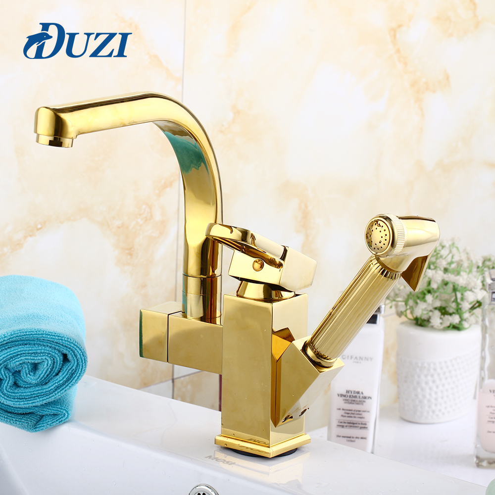 DUZI Pull Out Kitchen Sink Faucets Golden Finish Swivel Spout Vessel Sink Mixer Tap Single Handle Hole Deck Mounted Water Taps newly chrome brass water kitchen faucet swivel spout pull out vessel sink single handle deck mounted mixer tap mf 302